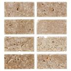 Travertine Noce Browns/Tans 3 in. x 6 in. Tumbled Travertine Wall and Floor Tile (1 sq. ft. / pack)