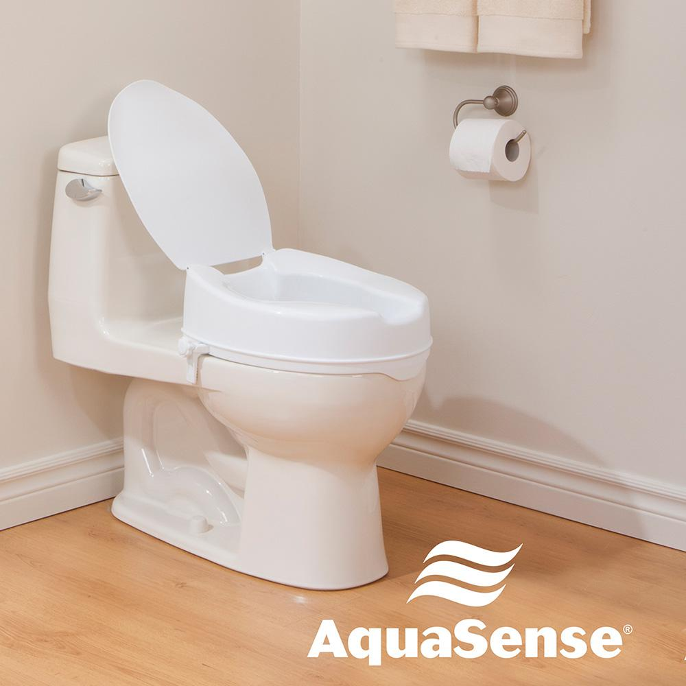 Terrific Aquasense Raised Toilet Seat With Lid White 4 In Theyellowbook Wood Chair Design Ideas Theyellowbookinfo