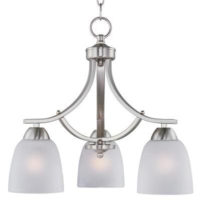 Axis 3-Light Satin Nickel Chandelier with Frosted Shade
