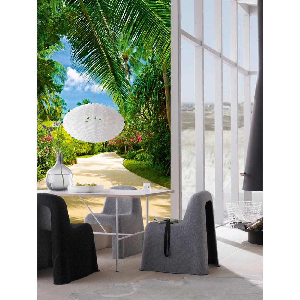 Ideal Decor 100 in x 72 in Tropical Pathway Wall Mural DM438 The