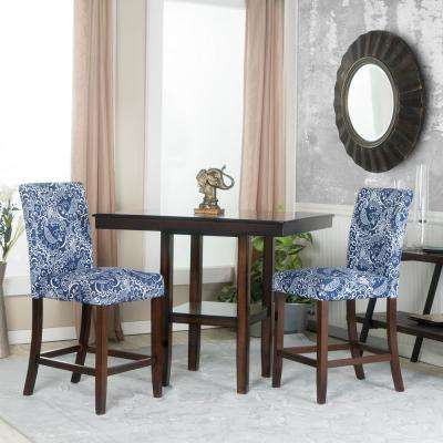 blue and white linen bar stool set of 2