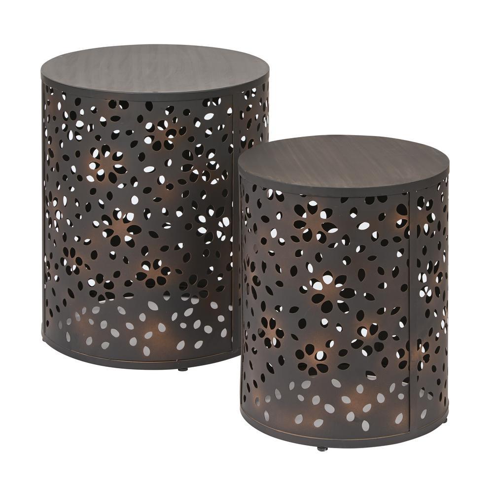 Middleton 2-Piece Antique Bronze Set Round Accent Tables
