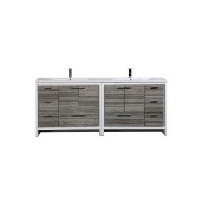 Dolce 84 in. W Bath Vanity in High Gloss Ash Gray with Reinforced Acrylic Vanity Top in White with White Basins