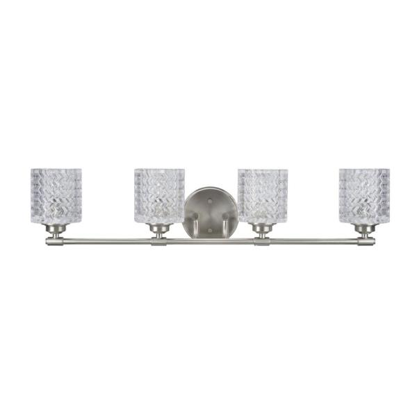 4-Light Brushed Nickel Vanity Light with Clear Glass Shade