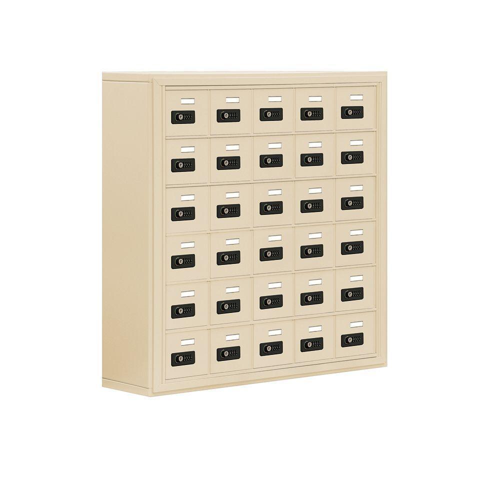 19000 Series 37 in. W x 36.5 in. H x 9.25 in. D 30 A Doors S-Mount Resettable Locks Cell Phone Locker in Sandstone