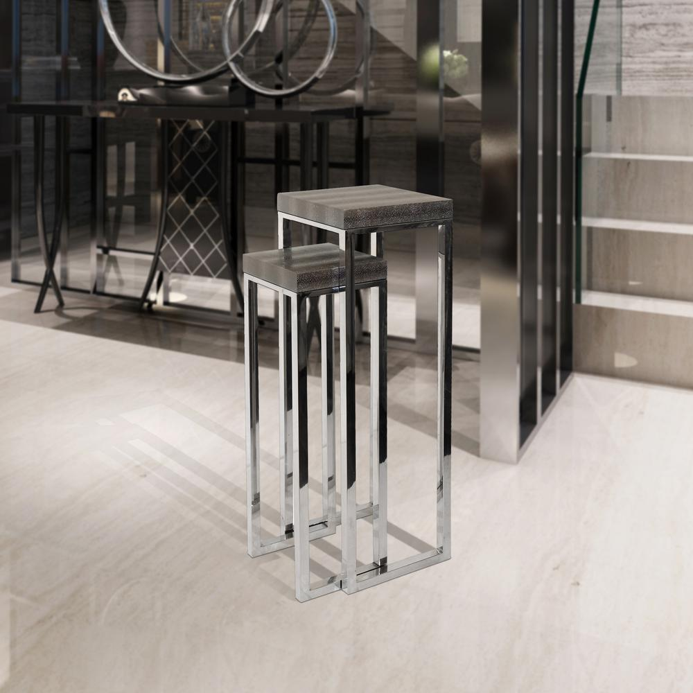 Silver Lizard Leather Tall Nesting Tables