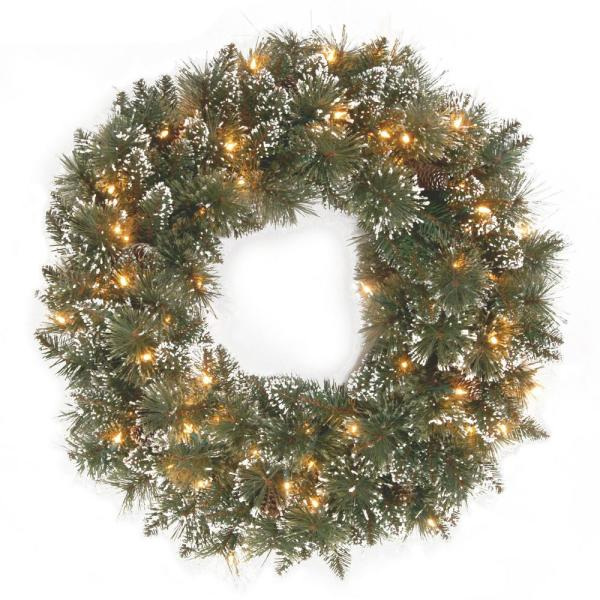 Glittery Bristle Pine 24 in. Artificial Wreath with Clear Lights