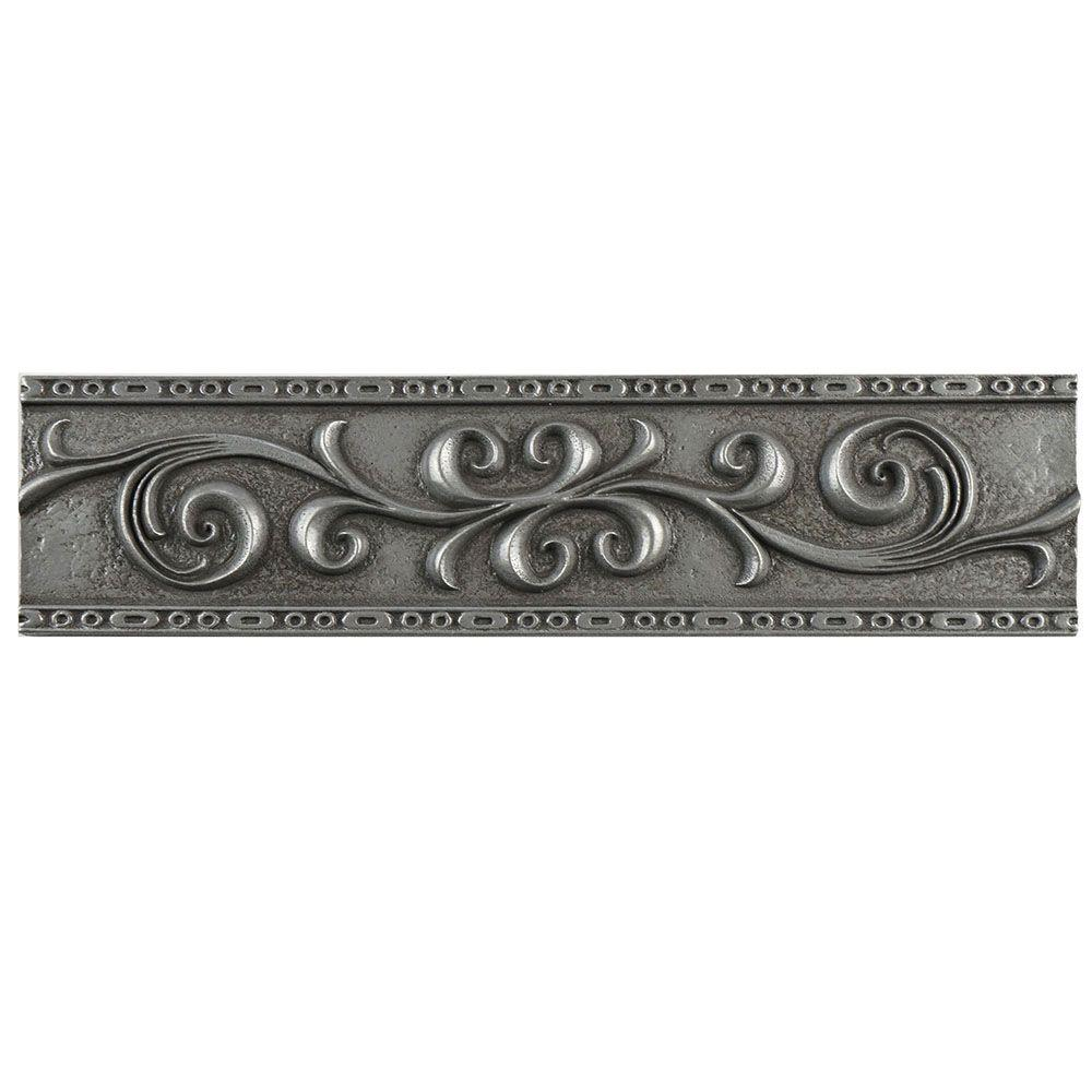 Ivy Scroll Bands: Merola Tile Contempo Pewter Scroll Liner 3 In. X 12 In
