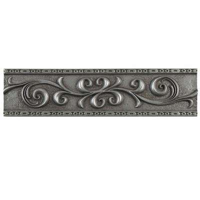 Contempo Scroll Liner Pewter 3 in. x 12 in. Travertine Metallic Wall Trim Tile