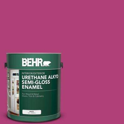 1 gal. #100B-7 Hot Pink Urethane Alkyd Semi-Gloss Enamel Interior/Exterior Paint