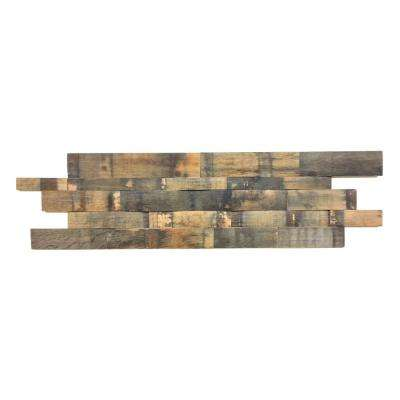 Reclaimed 1 in. x 39.5 in. x 11.5 in. Natural Whiskey Barrel Wood Wall Panel