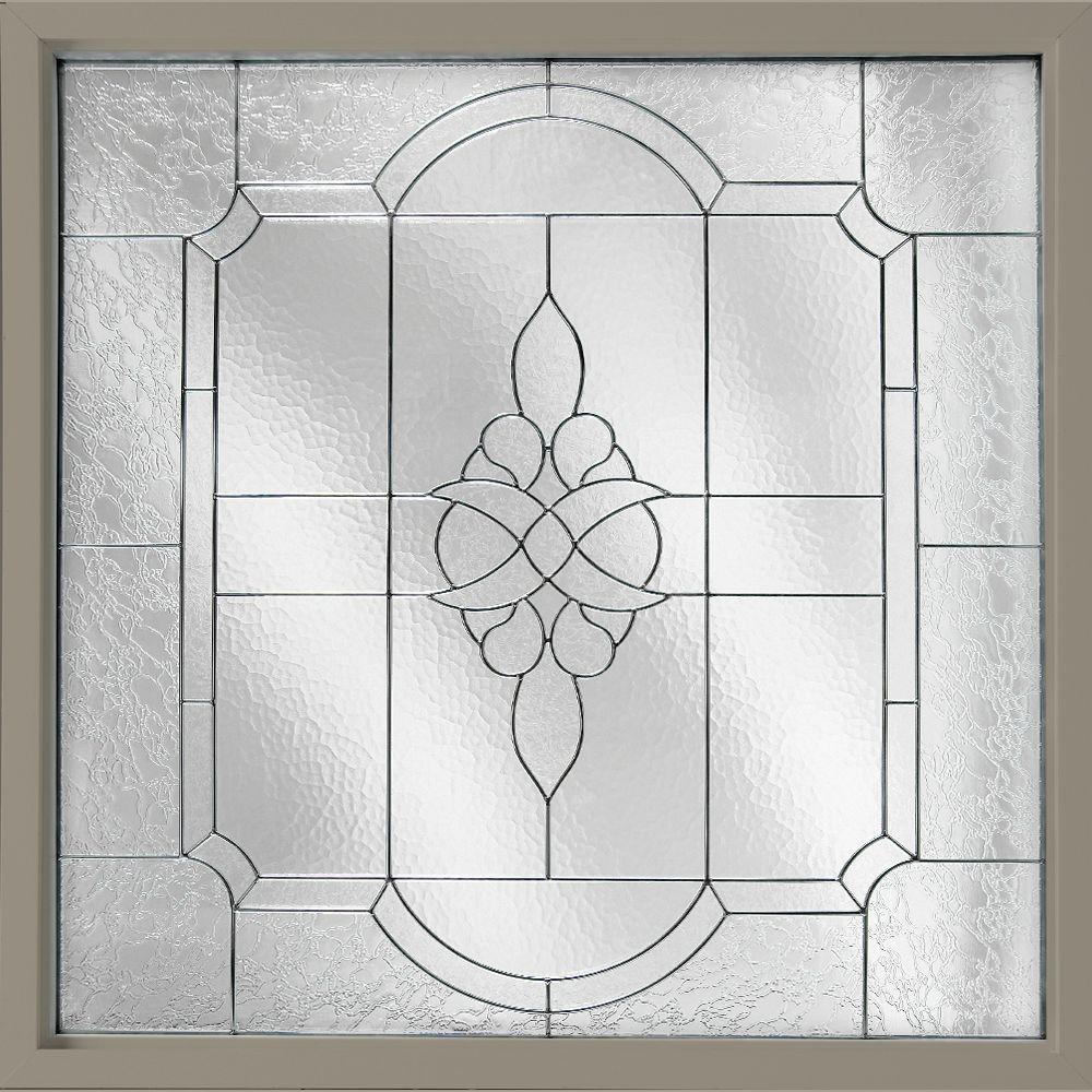 Hy-Lite 25 in. x 25 in. Decorative Glass Fixed Vinyl Window - Driftwood