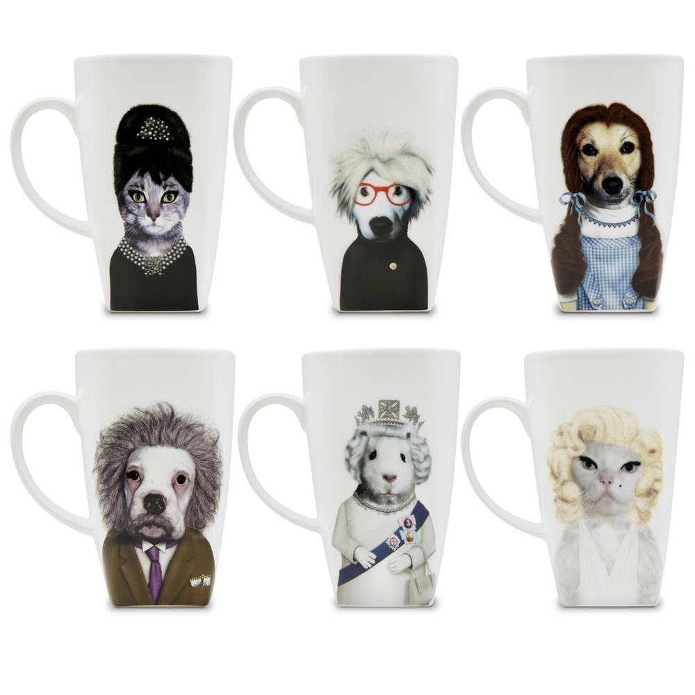 20 oz.  Royal  Pets Rock Collectible Fine Bone China Mugs (Set of 6), Royal-6 Set of 6 Pets Rock fine bone china 20 oz. mugs. These Pets Rock fine bone china coffee mugs give you the option to see the adorable pets you love dressed as celebrities on your mug. Available with a variety of furry creatures to fit any animal lovers desires. What better way to start your morning than with a cup of Joe and your adorable Pets Rock buddy. The porcelain is milky white in color, beautiful in shape and comfortable in your hand. Color: Royal-6.