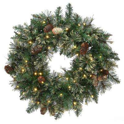 24 in. Golden Bristle Wreath with Battery Operated LED Lights