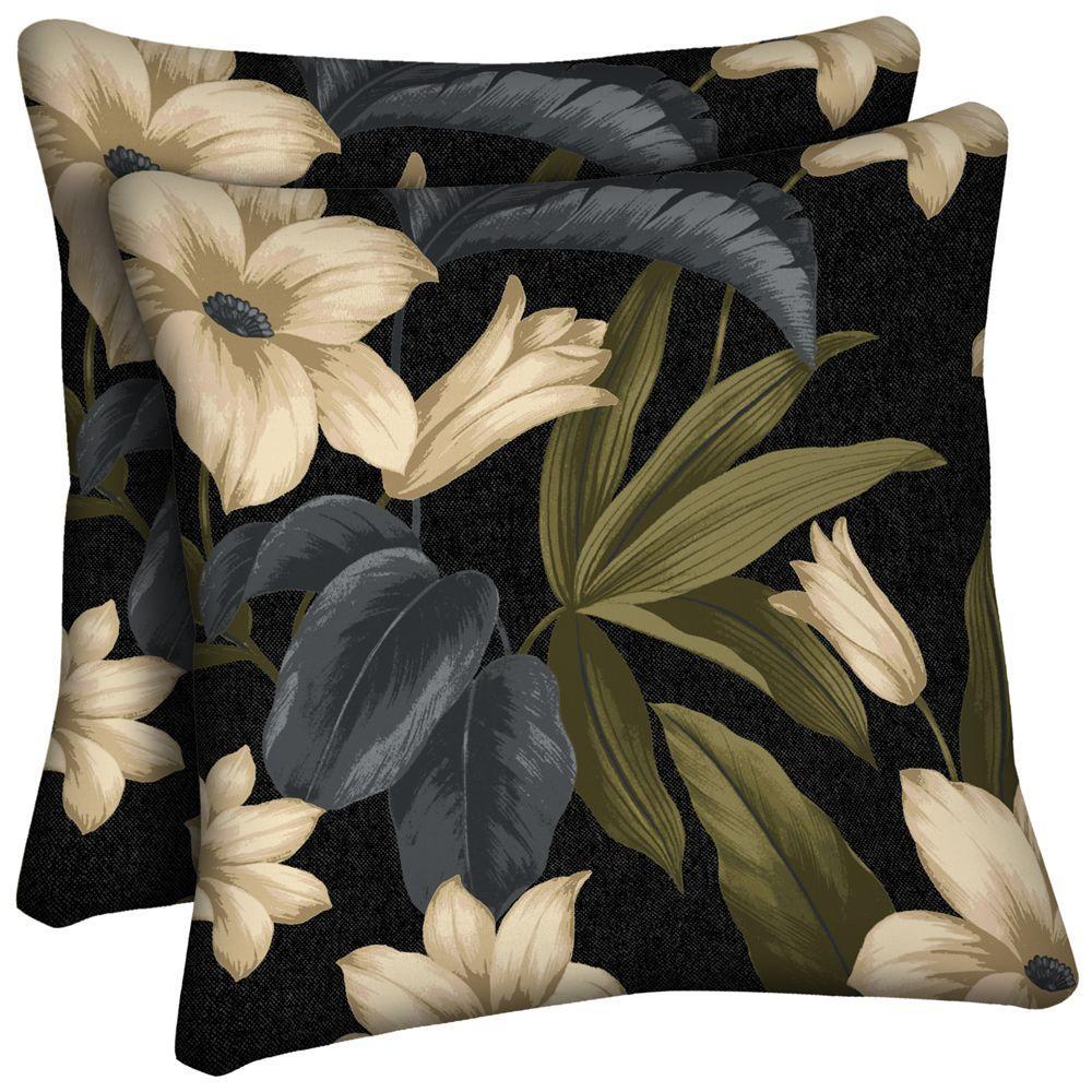 Hampton Bay Black Tropical Blossom Square Outdoor Throw Pillow (2-Pack)