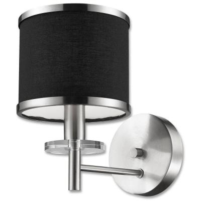 Medford Collection 1-Light Satin Nickel Wall Fixture with Black Fabric Shade