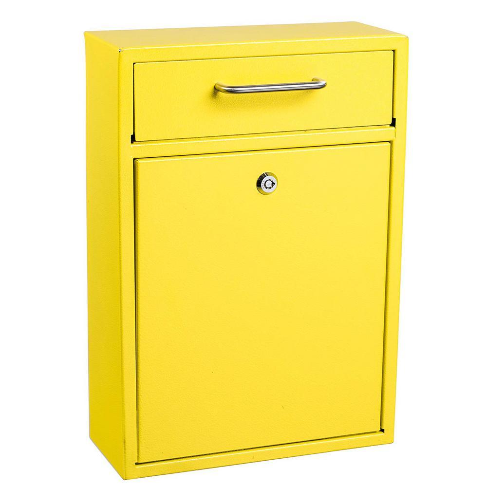 AdirOffice Large Ultimate Yellow Drop Box Wall Mounted Mail Box