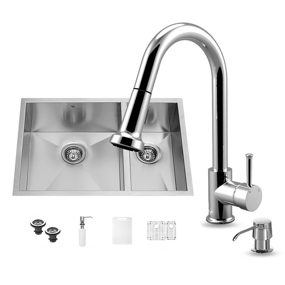 VIGO All-in-One Undermount Stainless Steel 29 in. Double Basin Kitchen Sink in Chrome
