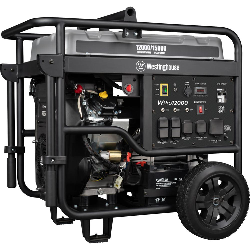 Westinghouse Pro 15,000/12,000-Watt Ultra Duty Gas Powered Portable  Industrial Generator with Remote Start and Full Panel GFCI