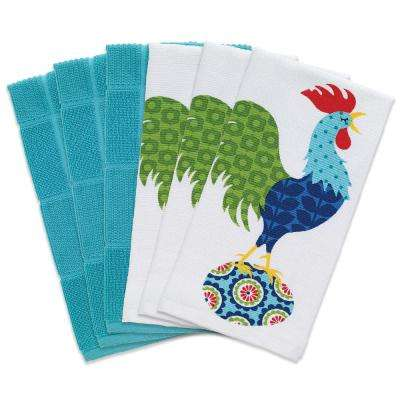 T-fal Multicolor Rooster Cotton Print Dual and Solid Kitchen Dish Towel (Set of 6)