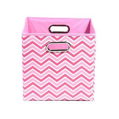 Rose 10.5 in. x 10.5 in. x 10.5 in. Zig Zag Folding Pink Fabric Storage Bin