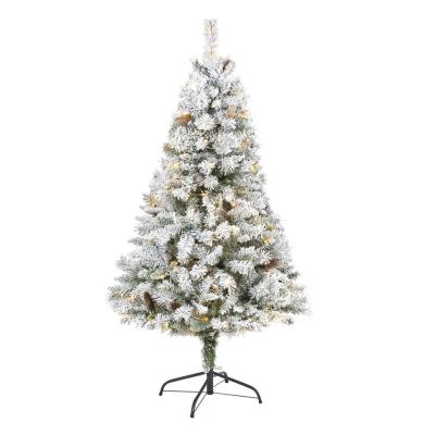 5 ft. White Pre-Lit Flocked River Mountain Pine Artificial Christmas Tree with Pine Cones and 150 Clear LED Lights