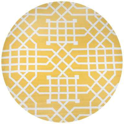 Azzura Hill Yellow Geometric 8 Ft X Round Outdoor Area Rug