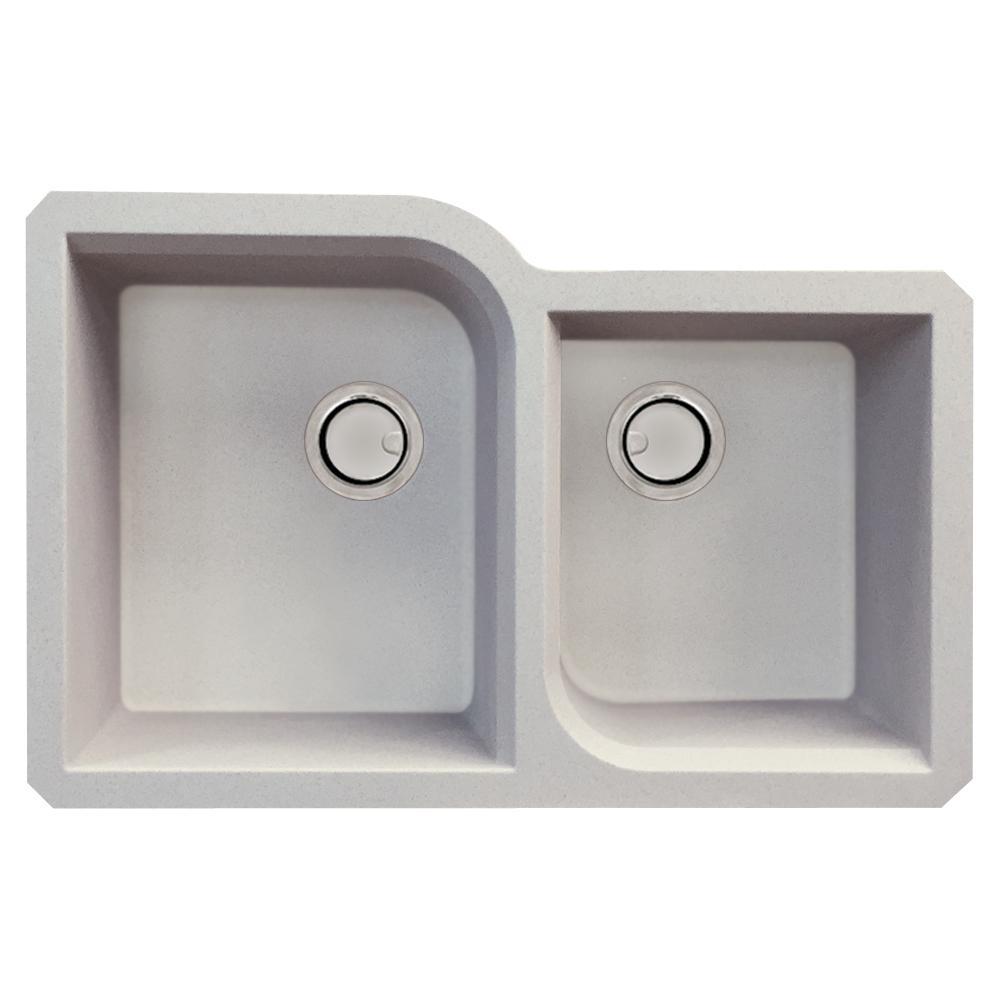 Radius Undermount Granite 32 in. 1-3/4 Offset Double Bowl Kitchen Sink in Cafe Latte