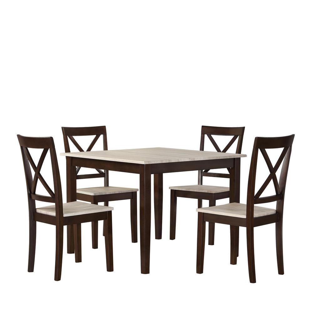 DorelLiving Dorel Living Sunnybrook Rustic 5-Piece Espresso Dining Set, Brown
