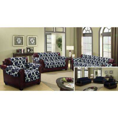 Rhys Water Resistant Navy Fit Polyester Fit Loveseat Slip Cover