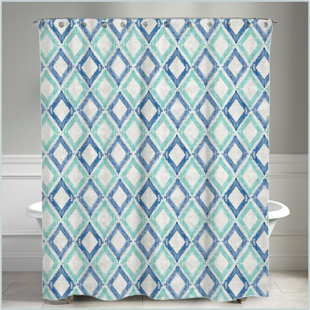 72 in. x 72 in. Geometric Green and Blue Apen Water