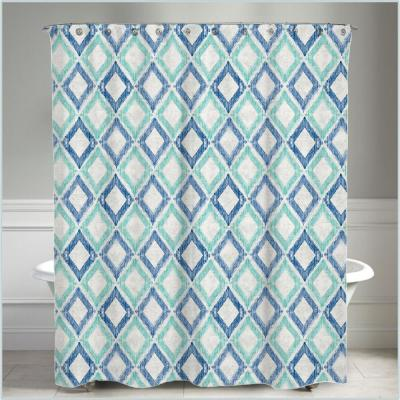72 in. x 72 in. Geometric Green and Blue Apen Water Repellent Shower Curtain