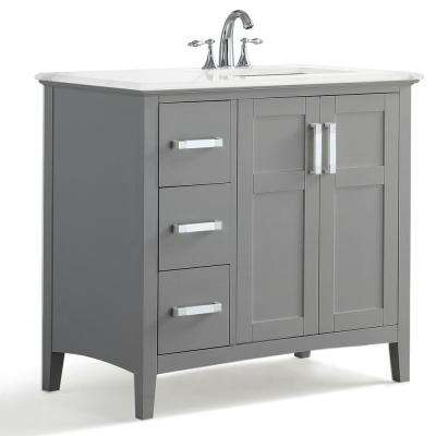 Winston 36 in. Right Offset Bath Vanity in Warm Grey with Marble Extra Thick Vanity Top in Bombay White with White Basin
