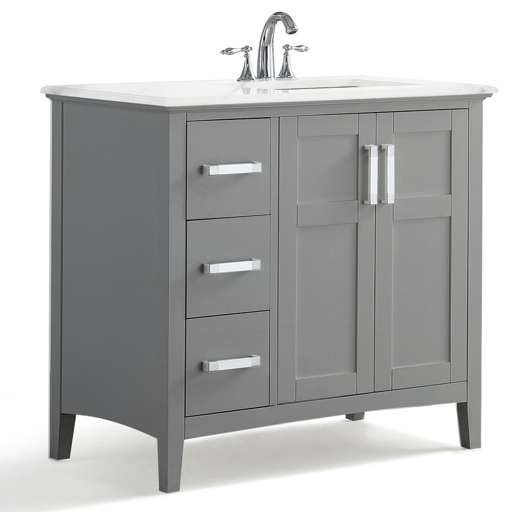 Simpli Home Winston 36 In Right Offset Bath Vanity Warm Grey With Marble