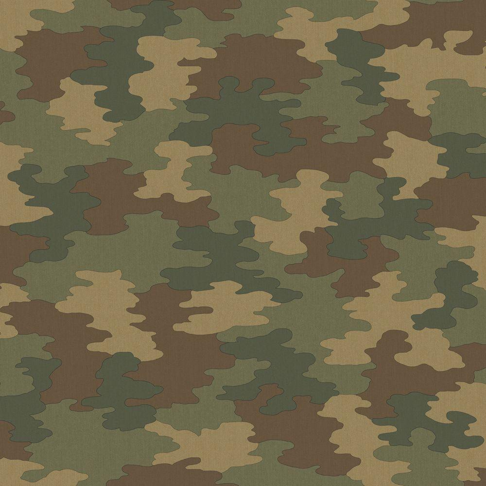 The Wallpaper Company 56 sq. ft. Army Green Camouflage Wallpaper