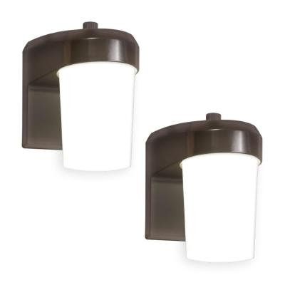 Bronze Outdoor Integrated LED Entry and Patio Light Sconce with Dusk to Dawn Photocell Sensor, 5000K Daylight (2-Pack)