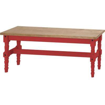 Jay 47.25 in. Red Wash Solid Wood Dining Bench