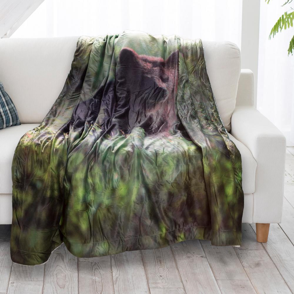 Grizzly Bear Print Sherpa Fleece Blanket