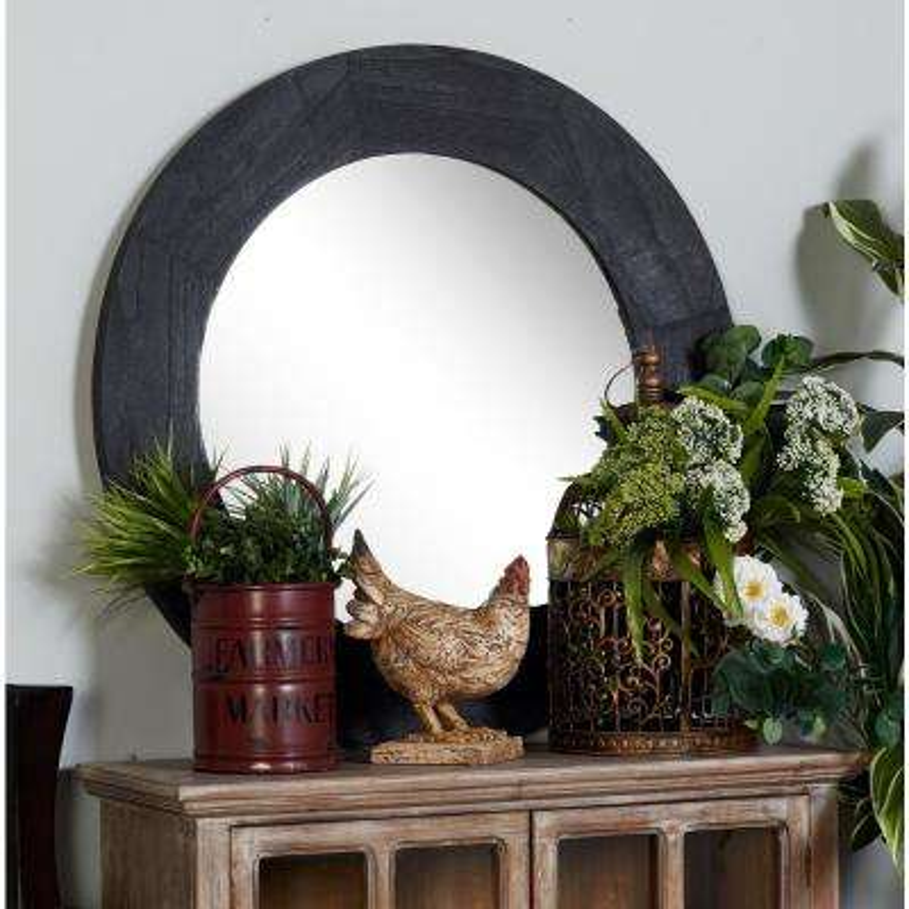 Round Gray Dresser Wall Mirror
