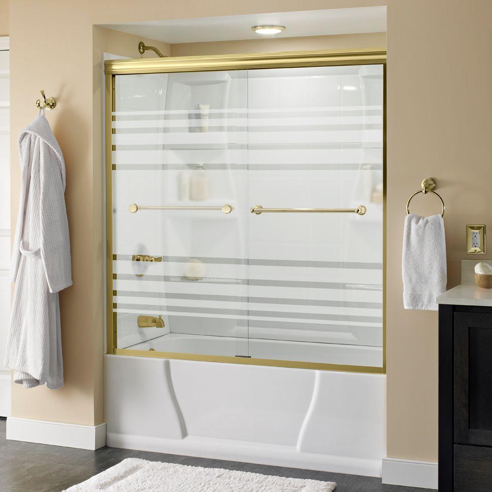Crestfield 60 in. x 58-1/8 in. Semi-Frameless Sliding Bathtub Door in Brass with Transition Glass
