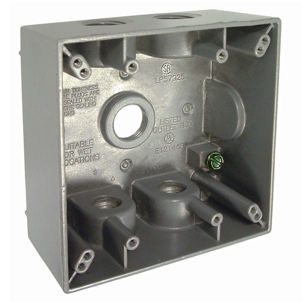 BELL 2-Gang Weatherproof Box with Five 1/2 in. Outlets