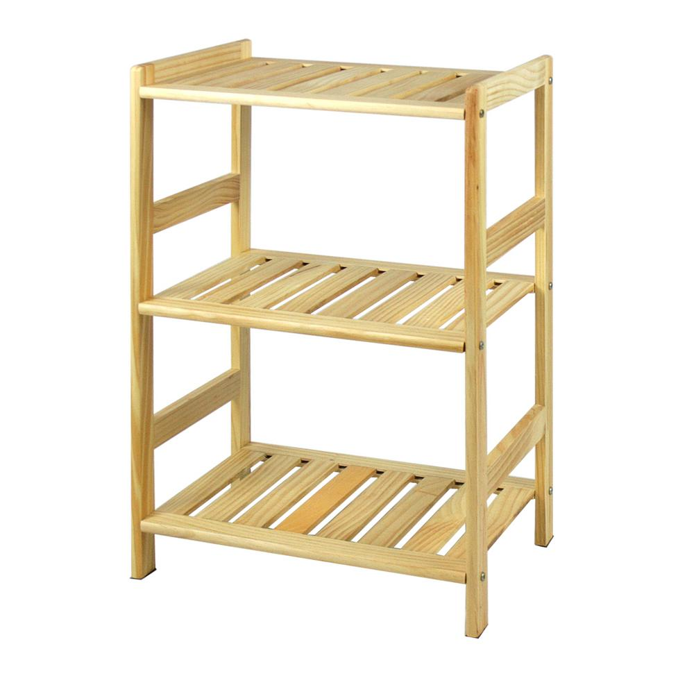 Pine Home Natural Color 3-Shelf Open Bookcase