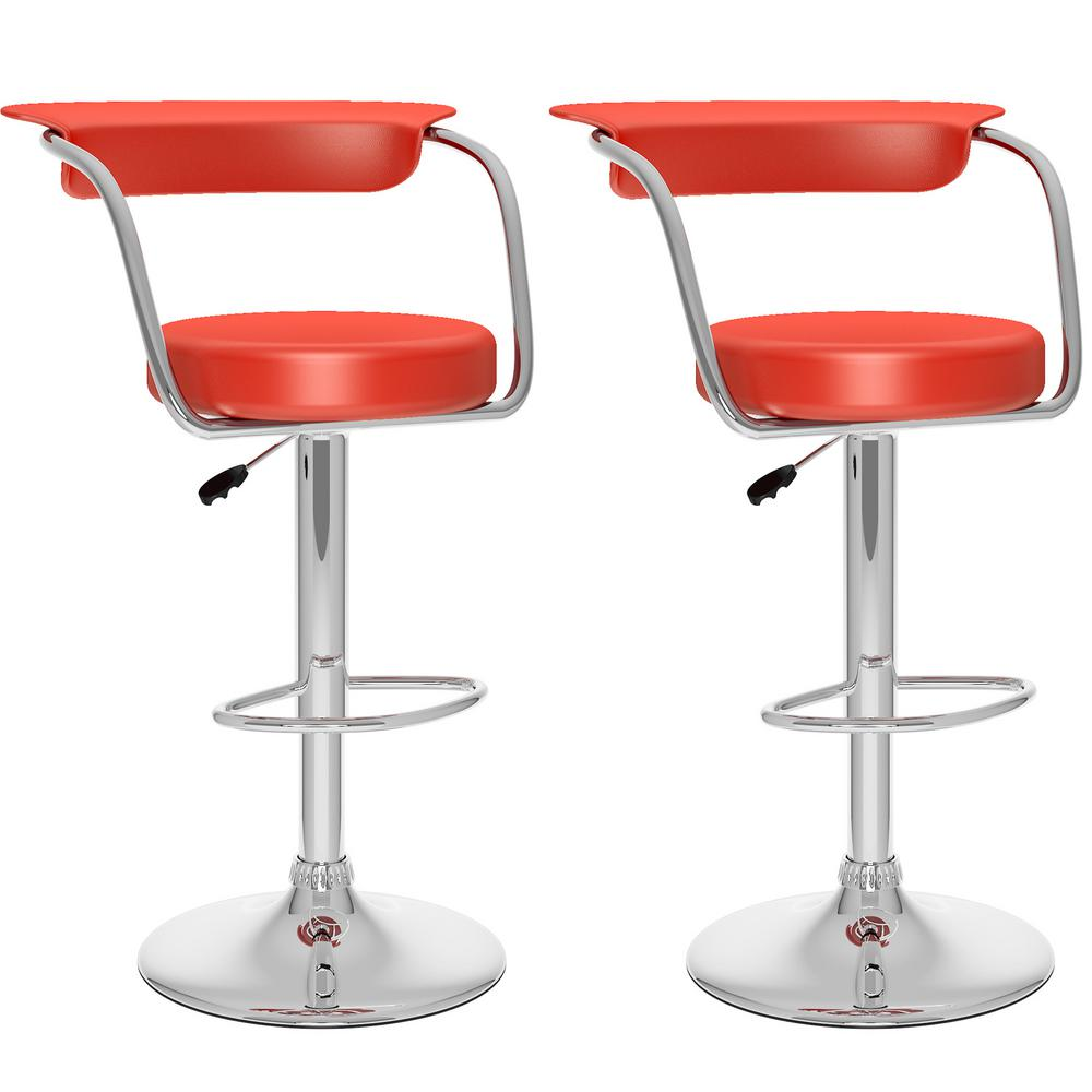 Adjustable Red Leatherette Open Back Bar Stool (Set of 2)