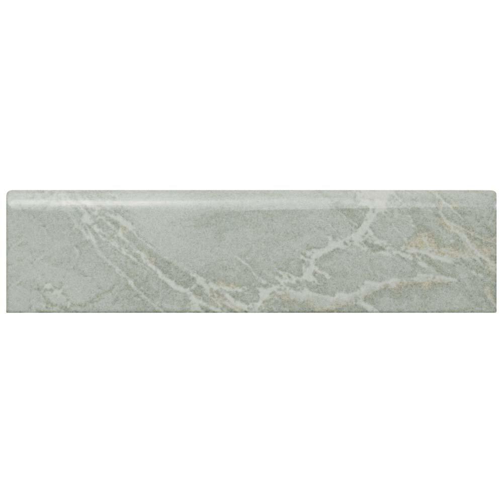 Aroas Gris 2 in. x 8 in. Ceramic Bullnose Wall Trim Tile