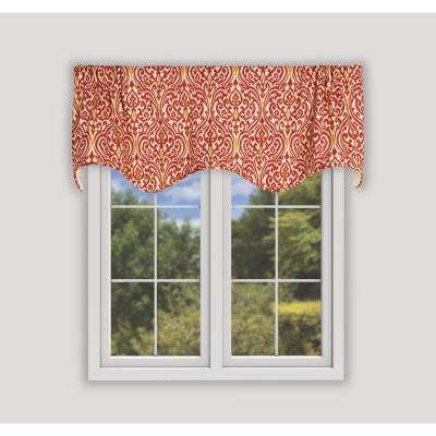 Sri Lanka 16 in. L Cotton Lined Scallop Valance in Red