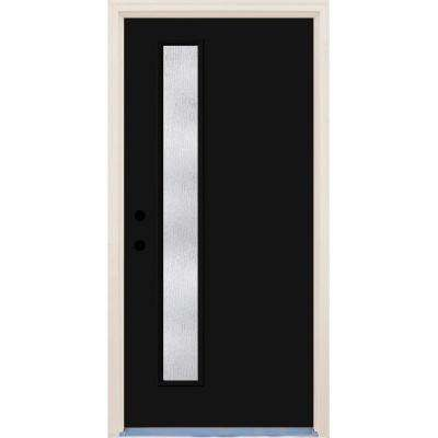 36 in. x 80 in. Right-Hand Inkwell 1 Lite Rain Glass Painted Fiberglass Prehung Front Door with Brickmould