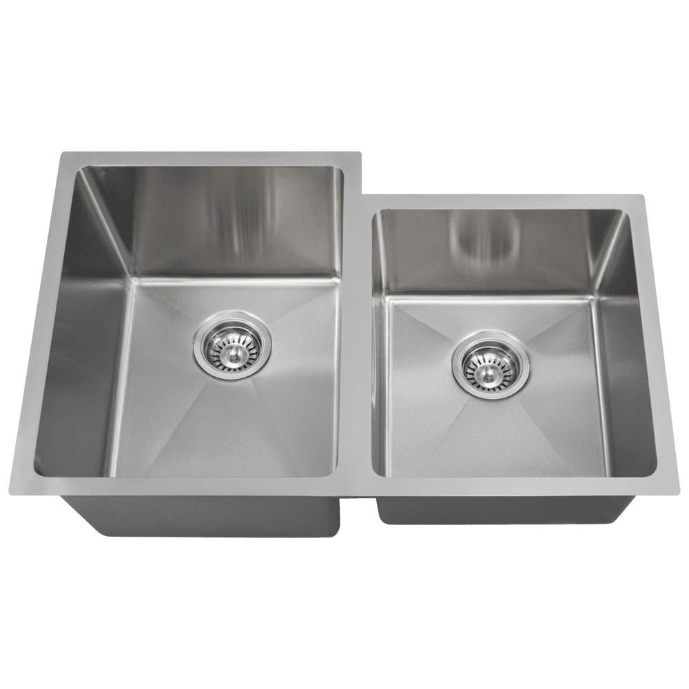 Undermount Stainless Steel 31 in. Left Double Bowl Kitchen Sink
