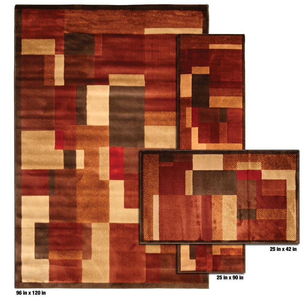 Mohawk Home Timmins Medium Dark Brown 3 Piece Rug Set-DISCONTINUED