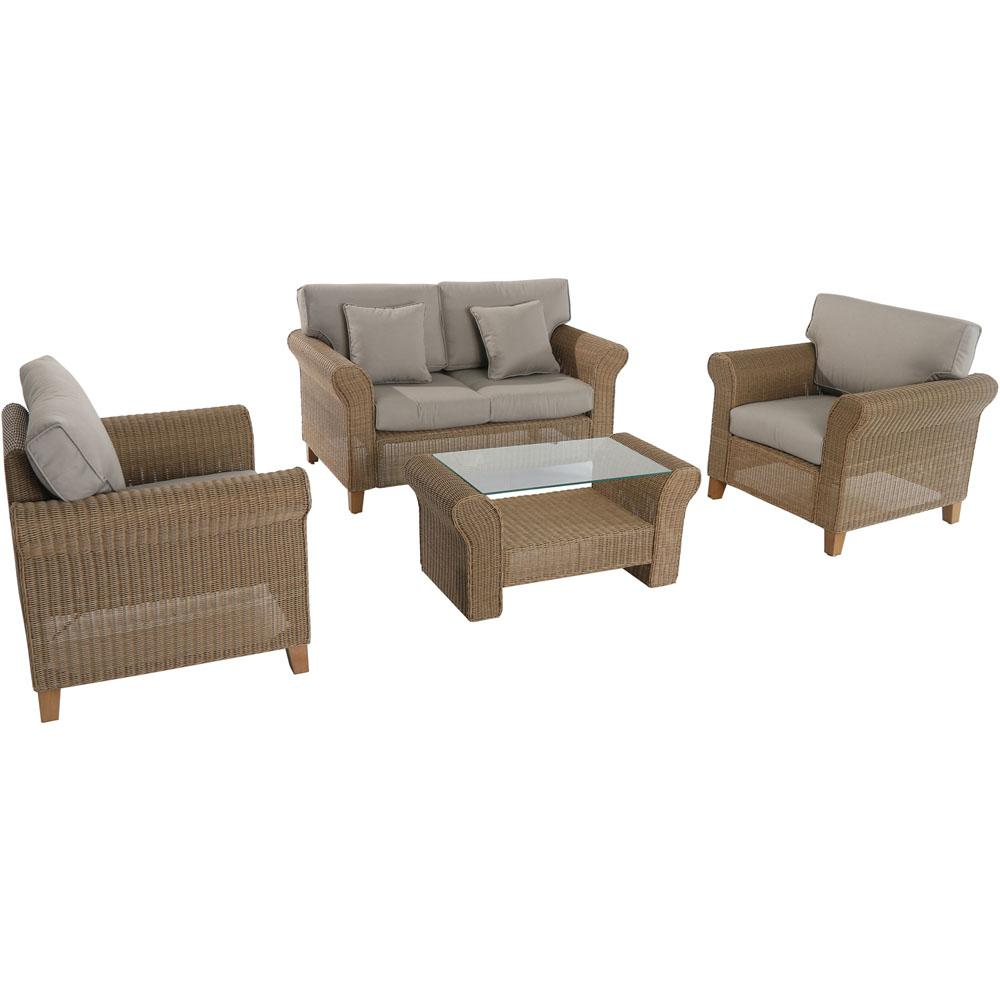 Avalon 4-Piece All-Weather Wicker Patio Seating Set with Tan Cushions