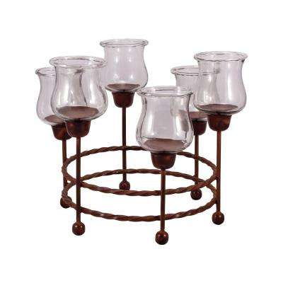 Rodeo 18 in. x 24 in. Round Montana Rustic Iron and Clear Glass Centerpiece Candle Holder